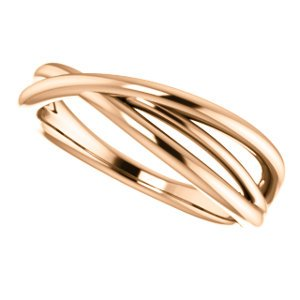Free-Form Abstract Criss Cross Ring, 14k Rose Gold