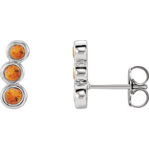 Citrine Three-Stone Ear Climbers, Sterling Silver