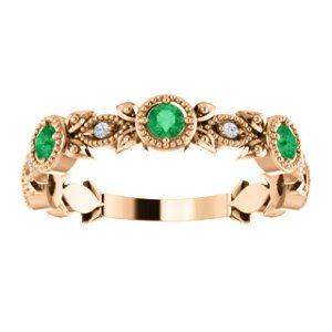 Chatham Created Emerald and Diamond Vintage-Style Ring, 14k Rose Gold (0.03 Ctw, G-H Color, I1 Clarity)