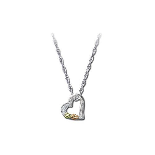 Tilted Two Leaves Heart Pendant Necklace, Sterling Silver, 12k Green and Rose Gold Black Hills Gold Motif, 18""