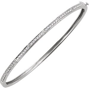 "Petite Diamond Bangle Bracelet, 14k White Gold, 7"" (.33 Cttw, HI Color, I1 Clarity)"