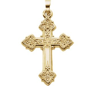 Women's Hollow Design Cross 14k Yellow Gold Pendant
