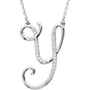 "Sterling Silver Alphabet Initial Letter Y Diamond Necklace, 17"" (1/8 Ct, GH Color, I1)"