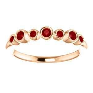 Created Chatham Ruby 7-Stone 3.25mm Ring, 14k Rose Gold, Size 7