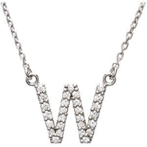 "14k White Gold Diamond Alphabet Letter W Necklace (1/6 Cttw, GH Color, l1 Clarity), 16.25"" to 18.50"""