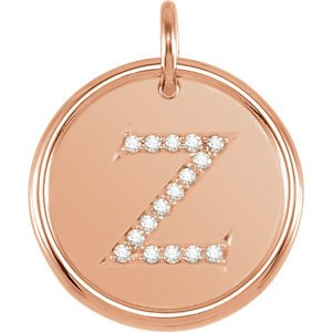 "Diamond Initial ""Z"" Pendant, 14k Rose Gold (.08 Ctw, Color GH, Clarity I1)"