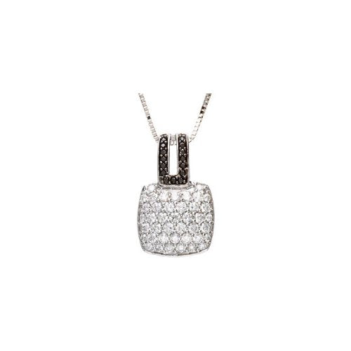14k White Gold 1.25 Cttw. Black and White Diamond Necklace