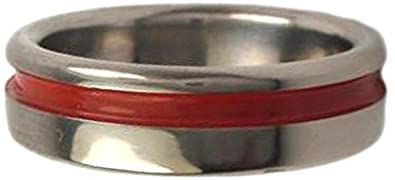 Red Grooved Pinstripe 5mm Comfort Fit Titanium Wedding Band, Size 8.5