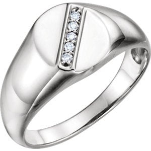 Men's Platinum Diamond Journey Ring (.08 Ctw, G-H Color, SI2-SI3 Clarity) Size 10.5
