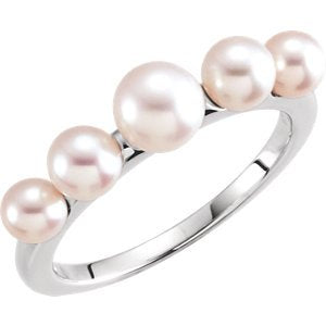 White Freshwater Cultured Pearl Five-Stone Ring, Rhodium-Plated 14k White Gold (4-6mm) Size 7.25