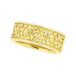 8.25mm 14k Yellow Gold Woven Design Band, Size 5