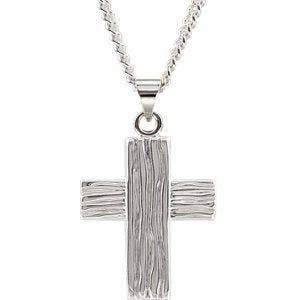 Rugged Cross Brushed Sterling Silver Pendant (23X19 MM)