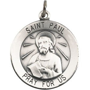 "Rhodium Plated Sterling Silver Round St. Paul the Apostle Necklace, 18"" (18.25MM)"