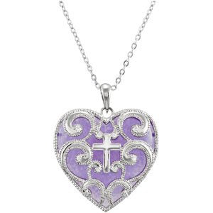 Sterling Silver and Purple Heart Cross Necklace 18""