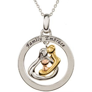 Sterling Silver 18k Yellow Gold Plate and 14k Rose Plate Gold Hug the Family Circle Necklace 18""