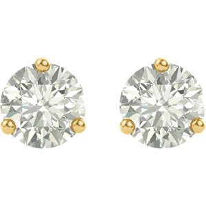 4 Cttw Charles and Clovard 14k Yellow Gold Moissanite Solitaire Earrings