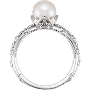 White Freshwater Cultured Pearl, Diamond Vintage Ring, Rhodium-Plated 14k White Gold (7-7.5 mm)(.02 Ctw, G-H Color, I1 Clarity)