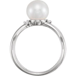 White Freshwater Cultured Pearl, Diamond Ring, Sterling Silver (8-8.5 mm)(.04 Ctw, Color G-H, Clarity I1)