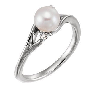 Platinum White Freshwater Cultured Pearl, Diamond Bypass Ring (6.0-6.5mm)(.03Ctw, GH Color, SI2-SI3 Clarity)