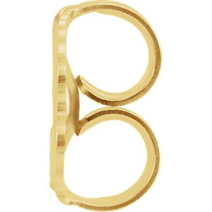 Initial Letter 'X' 14k Yellow Gold Stud Earring (Single Earring)