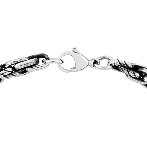 Men's Two-Tone Antiquing Link Bracelet, Stainless Steel, 8.5""