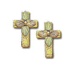 Cross Post Earrings, 10k Yellow Gold, 12k Green and Rose Gold Black Hills Gold Motif