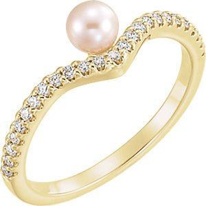 White Freshwater Cultured Pearl, Diamond Asymmetrical Ring, 14k Yellow Gold (4-4.5mm)(.2 Ctw, G-H Color, I1 Clarity)