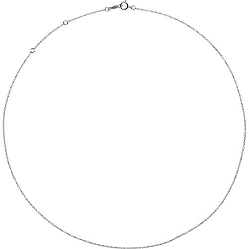 Platinum 1mm Solid Cable Chain Necklace, 16""