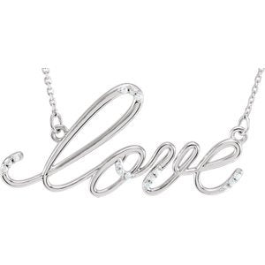 "15-Stone Diamond 'Love' 14k White Gold Pendant Necklace, 18"" (1/8 Ctw, GH, I1)"