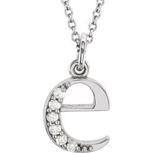 "Diamond Initial 'e' Lowercase Letter Rhodium-Plate 14k White Gold Pendant Necklace, 16"" (.03 Ctw GH Color, I1 Clarity)"