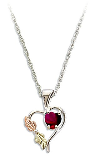 Red CZ January Birthstone Heart Pendant Necklace, Sterling Silver, 12k Green and Rose Gold Black Hills Gold Motif, 18""