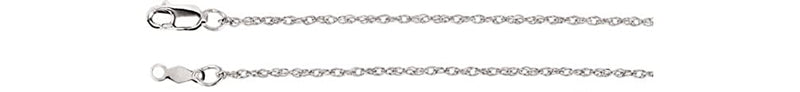 1.25mm 14k White Gold Rope Chain, 16""