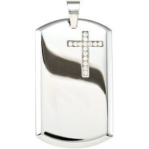 The Men's Jewelry Store CZ Dog Tag Cross Stainless Steel Pendant