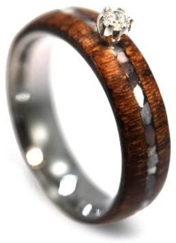 Diamond Solitaire, Mother of Pearl, Honduran Rosewood, Titanium 6.5mm Comfort-Fit Engagement Ring, Size 9.25