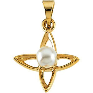 Tiny Cross with Pearl 14k Yellow Gold Pendant
