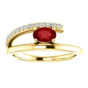Ruby and Diamond Bypass Ring, 14k Yellow Gold (.125 Ctw, G-H Color, I1 Clarity)