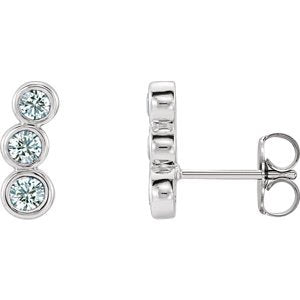 Diamond Three-Stone Ear Climbers, Sterling Silver (.5 Ctw, G-H Color, I1 Clarity)