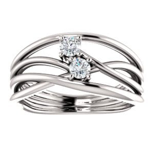 Platinum Diamond Two-Stone Bypass Ring, Size 7 (.2 Ctw, G-H Color, SI2-SI3 Clarity)