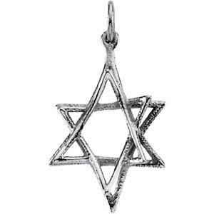 Star of David 14k White Gold Pendant (Made in Holy Land)