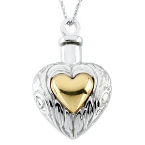 2-Tone Heart Ash Holder Necklace, Rhodium Plate Sterling Silver, 14k Yellow Gold Plate Silver, 18""