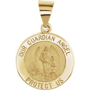 14k Yellow Gold Round Hollow Guardian Angel Medal (15 MM)