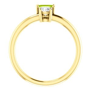 Peridot and Sapphire Two-Stone Ring, 14k Yellow Gold, Size 7