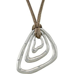 "Diamond Triangle Pendant in Sterling Silver with Brown Cord, 18"" (1/5 Cttw)"
