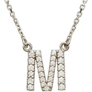 "14k White Gold Diamond Alphabet Letter M Necklace (1/5 Cttw, GH Color, I1 Clarity), 16.25"" to 18.50"""