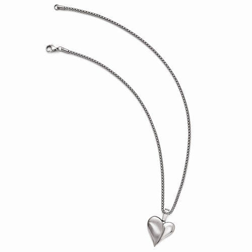 "Edward Mirell Titanium Heart with Sterling Silver Pendant Necklace, 16""-18"""