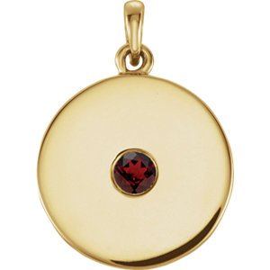 Round Garnet Disc Pendant, 14k Yellow Gold