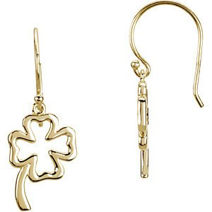 14k White Gold Petite Four Leaf Clover Earrings