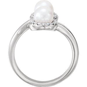White Freshwater Cultured Pearl and Diamond Halo Ring, Rhodium-Plated 14k White Gold (5.50-6.00MM) (.16 Ctw, G-H Color, I1 Clarity), Size 8