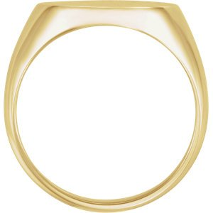Men's Brushed Signet Ring, 18k Yellow Gold ( 18x16mm) Size 12