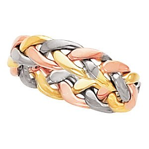 4.75mm 14k Yellow, White and Rose Gold Tri-Color Hand Woven Band, Size 7.5